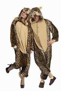 LUX LEOPARD ADULT MENS COSTUME CAT CHEETAH JUNGLE ZOO ANIMAL JUMPSUIT PAJAMAS