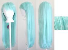 32'' Long Straight Long Bangs Mint Green Cosplay Wig NEW