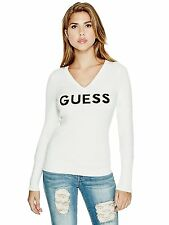 GUESS Sweater Women's Stretch Knit Slim Fit V-Neck Logo Pullover Top S Ivory NWT