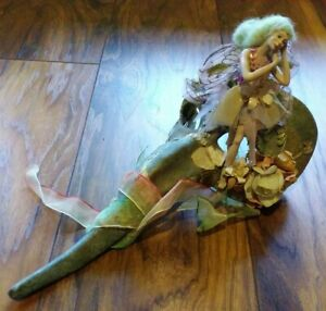 RARE Katherine's Collection Ceramic Venetian Mask with Fairy Doll. 33cm long.