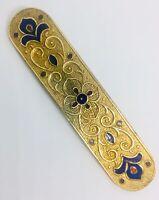 Long Art Deco Gilt Brass and Enamel Brooch Cobalt Blue 2 3/4 In Vintage Jewelry