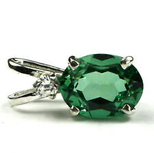 • SP021, 2.3ct Russian Emerald w/accent, Sterling Silver Ladies Pendant-Handmade