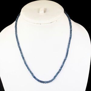 18 Inch Single Strand Natural Blue Sapphire Necklace Faceted Beads 925 Clasp