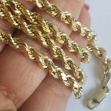 14k yellow gold rope chain 22 inches long 4 mm