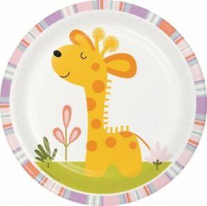 Happy Jungle Giraffe Girl 7 Inch Paper Plates 8 Pack Kids Giraffe Tableware