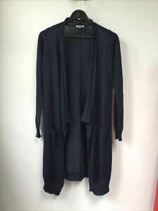 Ladies Jigsaw Navy Blue Long Cardigan, Size XS, UK 8, Good Used Condition, Plent