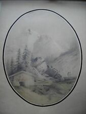 R. EMOND PAYSAGE MONTAGNE CHASSEURS dessin lavis ORIGINAL signé daté 1861