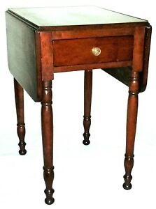 """Nightstand, lamp TABLE, Sheraton, solid cherry, drawer, dropleaf, 29""""t, c1820"""