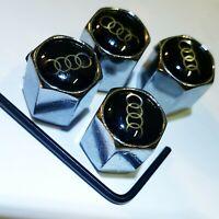 4 Ventilkappen Audi - Chrom - Performance - Silber - Metall - abschließbar