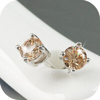 18k white gold gp made with Swarovski crystal round stud earrings 4mm small