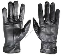 New Women's Luxury 100% Black Leather Winter Warm Gloves w/ Fur Lined Gloves
