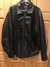 Gap Men's XL Black Quilt Lined Genuine Leather Heavy Motorcycle VGC