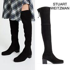 Stuart Weitzman Elevated Over The Knee OTK Boot Lace Tie Black Suede US 10.5