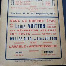 Pub Ancienne Louis Vuitton 1908 1909 Malle Auto Cartes Guides Campbell Normandie