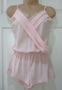 Ladies Pink Crepe Lace Trim Playsuit / Teddy / CamiKnickers Sizes 8 14 16 20