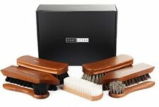 Shoe Care Kit Polishing Shine Valet Wood Box 7 pc Cleaning Leather Boots Shoes