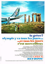 PUBLICITE ADVERTISING 025  1967  OLYMPIC     agence de voyage  LA GRECE en JET