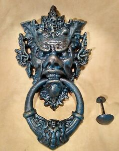 GARGOYLE DOOR KNOCKER IN GILDED VERDIGRIS PATINA ~ CAST IRON WITH STRIKER BUTTON
