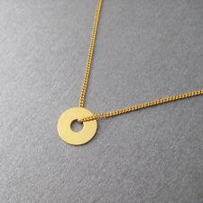 Collier fin minimaliste cercle en argent 925 plaqué or jaune 24 carats C036-J