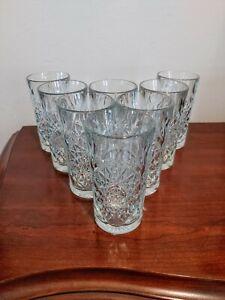 Libbey Hobstar Drinking Glasses 16 Oz Set Of 8 Heavy Cut Glass