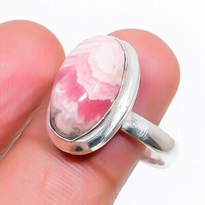 Rhodochrosite Gemstone Handmade 925 Sterling Silver Jewelry Ring Size 7