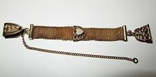 ANTIQUE VICTORIAN WATCH FOB GOLD FILL PLATE MESH w SHIELD & SEAL FOR ENGRAVING