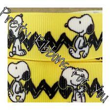 "Snoopy 7/8"" wide high quality grosgrain ribbon 5 yards listing"