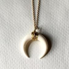 Small Black / White Bone Double Horn Pendant Necklace Crescent Moon Gold Chain