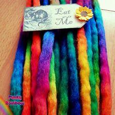 10 Long Bright Rainbow Dreads Hair extensions  Festival Hippie Punk Fairy Goth