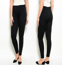 LG2 Womens Black Stretch Full Length Tight Leggings Warm Fleece Plus Size 14-18
