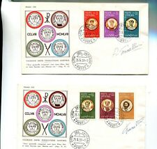 Vatican City 1959 First Day Stamp Cover Scott 227 -228 Signed Lot Of 2 7866H