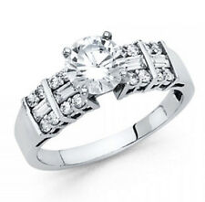 2ct Solitaire Simulated Diamond Accent 3-Row Engagement 14k White Gold Ring
