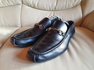 Gucci Mens Shoes Black Horsebit Loafers Driving Shoes  UK 9.5  US 10.5  EU 43.5