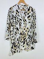 Chico's Sheer Leopard Animal Print High Low Blouse Size 2 Petite     #J1372