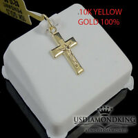 NEW 10K YELLOW 100% GOLD 15 MM MINI JESUS CRUCIFIX CROSS PENDANT CHARM LADIES