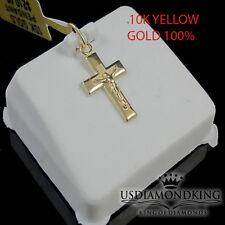 NEW 10K YELLOW 100%25 GOLD 15 MM MINI JESUS CRUCIFIX CROSS PENDANT CHARM LADIES
