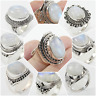925 SOLID STERLING SILVER HANDMADE JEWELRY RING IN RAINBOW MOONSTONE  SIZE 5-10