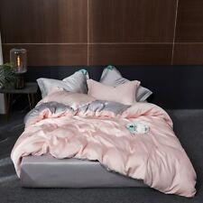 100% Silk Pink Bedding Set Skin Duvet Cover Fitted Sheet Pillowcase Queen King