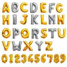 "16"" Golden Silver Alphabet Letter Number Foil Balloons Party Wedding Decoration"