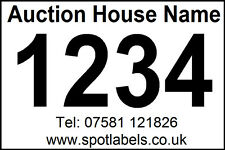 400 Personalised Auction Lot Number, Sticky  Easy Peel Labels, No Residue