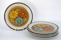 "Lot 6 Acsons Dinner Plates Mardi Gras Floral Stoneware Retro 10"""