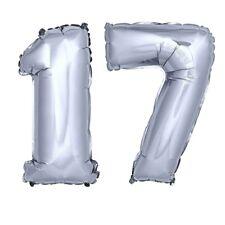 Folienballon Zahlenballon Geschenk Luftballon Geburtstag Silber 80cm Zahl 17
