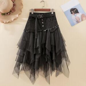 Women Denim Mesh Splice Skirt High Waist Asymmetric Frill Tulle Gothic Chic Slim