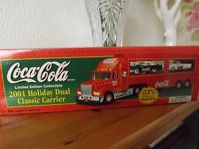 COCA COLA 2001 CHRISTMAS DUAL CLASSIC CARRIER+ 2 THUNDERBIRDS NEW TRUCK  IN BOX.