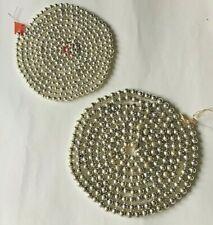 "New listing 2 Vintage Christmas Garlands Silver Mercury Glass Beads Japan 95"" & 109"""