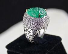 Elegant Unique Pear Cut 10.21CT Emerald & 3.50CT Pave CZ 925 Silver Wedding Ring