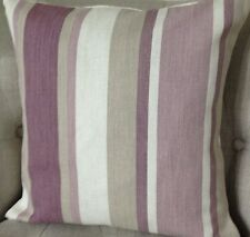 "16"" Cushion Cover in Laura Ashley Awning Stripe Grape/purple Austen Reverse"
