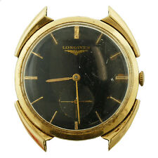 LONGINES VINTAGE BLACK DIAL 14K SOLID GOLD MENS WATCH HEAD FOR PARTS OR REPAIRS