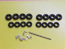 16 x DINKY Black Smooth Tyre 8 x 15mm 8 x 17mm TYRES - 1 DRILL BIT - 12 RIVETS