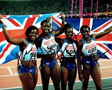 Womens Team GB SIGNED Olympic 4x100m Relay Medal Photo 2 AFTAL Autograph COA